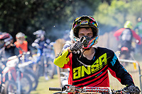 Thumbs up from Stuart Groves, as the riders await entrance to the starting gate during the Richard Fitch Memorial Trophy Motocross at Wakes Colne MX Circuit on 18th July 2021