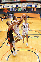 SAN ANTONIO, TX - NOVEMBER 27, 2020: The University of Texas at San Antonio Roadrunners defeat the University of Texas Permian Basin Falcons 97-71 at the Historic UTSA Convocation Center (Photo by Jeff Huehn).
