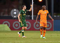 LAKE BUENA VISTA, FL - JULY 18: Diego Valeri #8 of the Portland Timbers walks to midfield while celebrating his goal during a game between Houston Dynamo and Portland Timbers at ESPN Wide World of Sports on July 18, 2020 in Lake Buena Vista, Florida.
