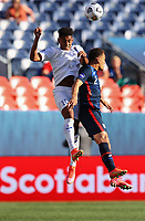 DENVER, CO - JUNE 3: Anthony Lozano  #9 of Honduras and  Sergino Dest #2 of the United States battle for a ball during a game between Honduras and USMNT at EMPOWER FIELD AT MILE HIGH on June 3, 2021 in Denver, Colorado.