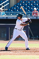 Peoria Javelinas designated hitter Braxton Davidson (34), of the Atlanta Braves organization, at bat during an Arizona Fall League game against the Scottsdale Scorpions at Peoria Sports Complex on October 18, 2018 in Peoria, Arizona. Scottsdale defeated Peoria 8-0. (Zachary Lucy/Four Seam Images)