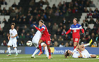 Christen Press of USA Women heads an attack leaving Jill Scott of England Women grounded during the Women's International Friendly match between England Women and USA Women at stadium:mk, Milton Keynes, England on 13 February 2015. Photo by Andy Rowland.