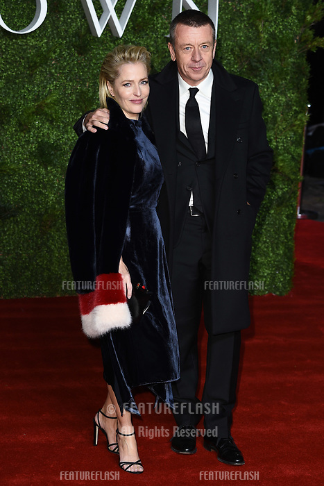 """LONDON, UK. November 13, 2019: Gillian Anderson and Peter Morgan arriving for """"The Crown"""" series 3 premiere at the Curzon Mayfair, London.<br /> Picture: Steve Vas/Featureflash"""