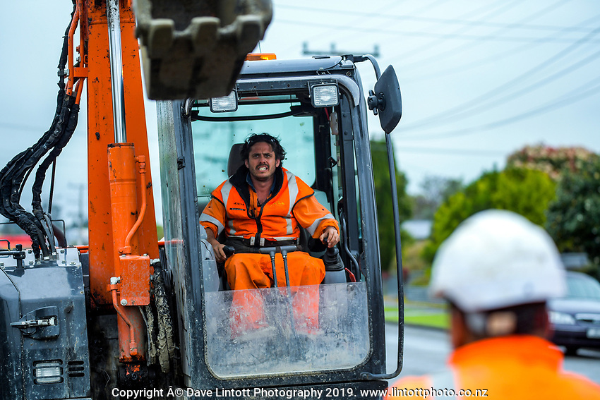 South Belt road works in Masterton, New Zealand on Wednesday, 16 October 2019. Photo: Dave Lintott / lintottphoto.co.nz