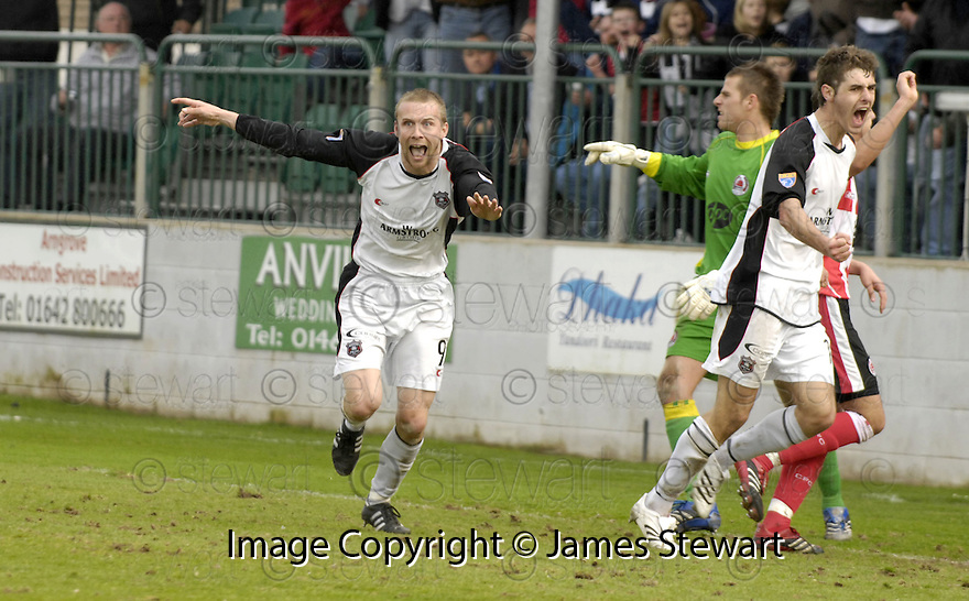 21/04/2007       Copyright Pic: James Stewart.File Name : sct_jspa10_gretna_v_clyde.COLIN MCMENAMIN CELEBRATES SCORING BUT HIS GOAL WAS DISALLOWED FOR HAND BALL........James Stewart Photo Agency 19 Carronlea Drive, Falkirk. FK2 8DN      Vat Reg No. 607 6932 25.Office     : +44 (0)1324 570906     .Mobile   : +44 (0)7721 416997.Fax         : +44 (0)1324 570906.E-mail  :  jim@jspa.co.uk.If you require further information then contact Jim Stewart on any of the numbers above.........
