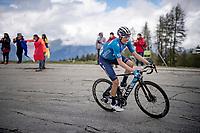 Enric Mas (ESP/Movistar) up the climb towards La Plagne (HC/2072m/17.1km@7.5%) <br /> <br /> 73rd Critérium du Dauphiné 2021 (2.UWT)<br /> Stage 7 from Saint-Martin-le-Vinoux to La Plagne (171km)<br /> <br /> ©kramon