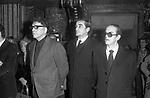BURT LANCASTER CON VITTORIO GASSMAN -<br /> FUNERALI DI LUCHINO VISCONTI<br /> CHIESA DI SANT'IGNAZIO ROMA 3 MARZO 1976