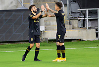 LOS ANGELES, CA - SEPTEMBER 02: Diego Rossi #9 of LAFC celebrates his goal with team mate Brian Rodriguez #17 during a game between San Jose Earthquakes and Los Angeles FC at Banc of California stadium on September 02, 2020 in Los Angeles, California.