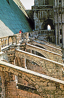 Detail of walkway and flying buttresses at Chartres Cathedral. Chartres, France. Gothic design
