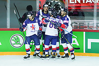 22nd May 2021, Riga Olympic Sports Centre Latvia; 2021 IIHF Ice hockey, Eishockey World Championship, Great Britain versus Russia;  14 Liam Kirk Great Britain scores the first goal for Great Britain at this tournament and celebrates with Robert Dowd,  Matthew Myers, Dallas Ehrhardt and Brendan Connolly Great Britain.