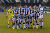 team picture Charleroi ( goalkeeper Ambre Collet (1) , Jessica Silva Valdebenito (18) , Madison Hudson (8) , Noemie Fourdin (22) , Alysson Duterne (14) , Ludmila Matavkova (9) , Estelle Dessilly (13) and Megane Vos (20) , Chrystal Lermusiaux (2) , Jennifer Bouchenna (17) , Renate Mehevets (15) ) before a female soccer game between FC Femina White Star Woluwe and Sporting Charleroi on the 2nd matchday of Play off 2 in  the 2020 - 2021 season of Belgian Scooore Womens Super League , friday 16 th of April 2021  in Woluwe , Belgium . PHOTO SPORTPIX.BE   SPP   STIJN AUDOOREN