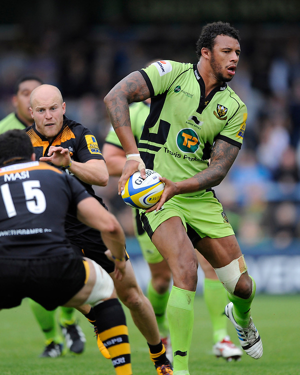 Courtney Lawes of Northampton Saints in action during the Premiership Rugby Round 2 match between Wasps and Northampton Saints at Adams Park on Sunday 14th September 2014 (Photo by Rob Munro)
