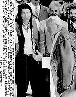 Yellowknife, N.W.T. during breef stop over at Yellowknife Pope meet 12 rep. from Indian reserves and one of them give him his personal coat made of skin.<br /> <br /> Photo : Boris Spremo - Toronto Star archives - AQP