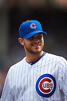 Chicago Cubs pitcher Justin Grimm (52) during a game against the Milwaukee Brewers on August 13, 2015 at Wrigley Field in Chicago, Illinois.  Chicago defeated Milwaukee 9-2.  (Mike Janes/Four Seam Images)