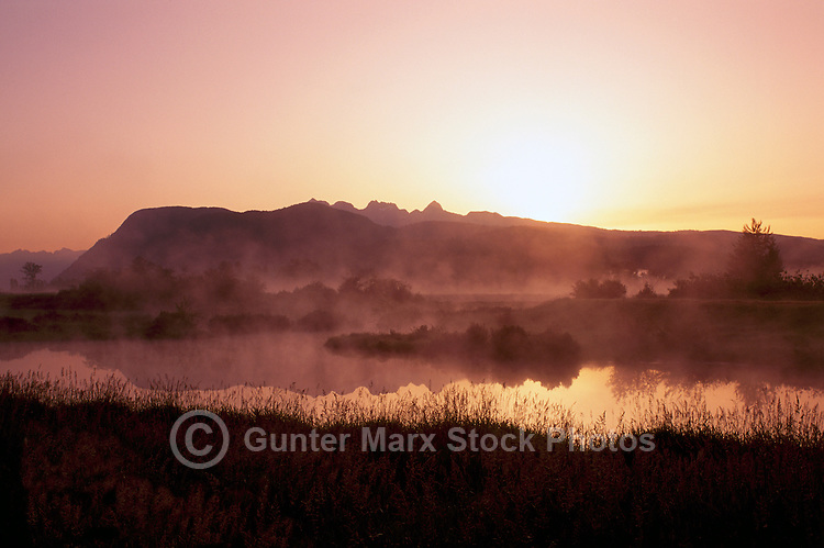 """Alouette River in Pitt Polder Area of Fraser Valley, near Maple Ridge, BC, British Columbia, Canada - """"Golden Ears"""" Mountains (Coast Mountains) beyond in Golden Ears Provincial Park, Sunrise"""