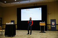 Bradenton, FL : Omid Namazi speaks to US Soccer athletes during a presentation in Bradenton, Fla., on January 4, 2018. (Photo by Casey Brooke Lawson)
