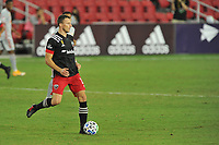 WASHINGTON, DC - SEPTEMBER 12: Frederic Brilliant #13 of D.C. United moves the ball during a game between New York Red Bulls and D.C. United at Audi Field on September 12, 2020 in Washington, DC.