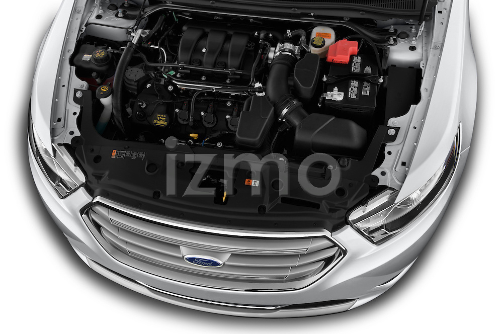 High angle engine detail of a 2017 Ford Taurus LTD