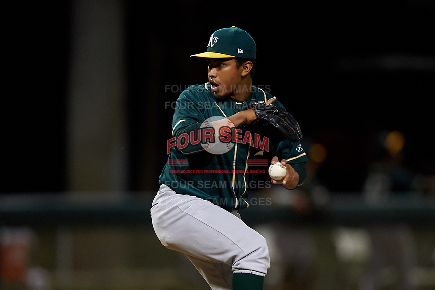 AZL Athletics Green relief pitcher Iraj Serrano (7) during an Arizona League game against the AZL Dodgers Lasorda at Camelback Ranch on June 19, 2019 in Glendale, Arizona. AZL Dodgers Lasorda defeated AZL Athletics Green 9-5. (Zachary Lucy/Four Seam Images)