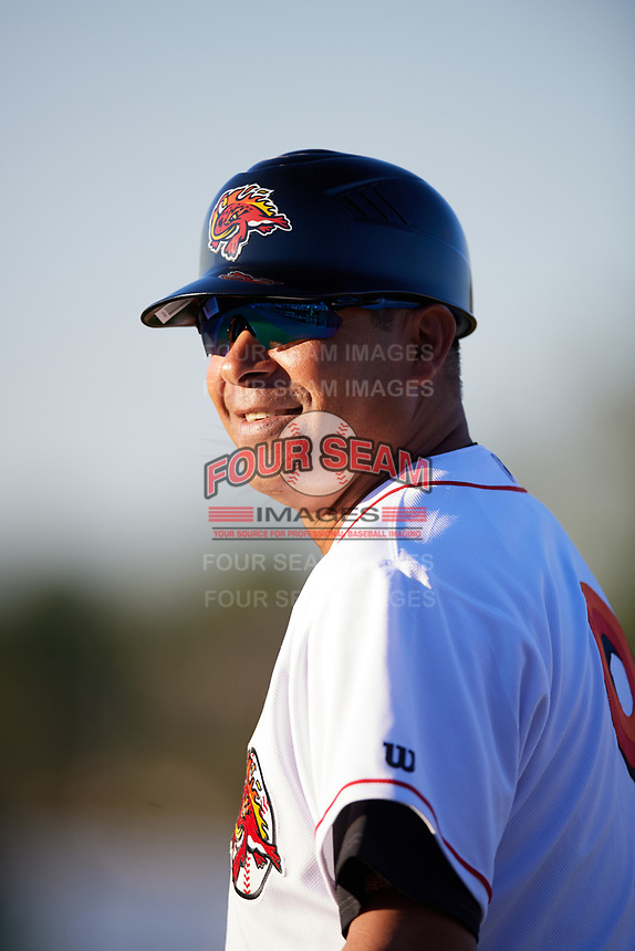 Florida Fire Frogs first base coach Tomas Perez (9) during a game against the Daytona Tortugas on April 6, 2017 at Osceola County Stadium in Kissimmee, Florida.  Daytona defeated Florida 3-1.  (Mike Janes/Four Seam Images)