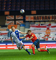 Luton Town's Danny Hylton (right) battles with Huddersfield Town's Jaden Brown (left) <br /> <br /> Photographer David Horton/CameraSport<br /> <br /> The EFL Sky Bet Championship - Luton Town v Blackburn Rovers - Saturday 21st November 2020 - Kenilworth Road - Luton<br /> <br /> World Copyright © 2020 CameraSport. All rights reserved. 43 Linden Ave. Countesthorpe. Leicester. England. LE8 5PG - Tel: +44 (0) 116 277 4147 - admin@camerasport.com - www.camerasport.com