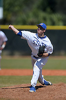 South Dakota State JackRabbits pitcher JD Moore (22) delivers a pitch during a game against the Maine Black Bears at South County Regional Park on March 9, 2014 in Port Charlotte, Florida.  Maine defeated South Dakota 5-4.  (Mike Janes/Four Seam Images)