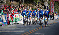 Team Quickstep Floors accelerating out of the start box<br /> <br /> Men's Team Time Trial<br /> <br /> UCI 2017 Road World Championships - Bergen/Norway