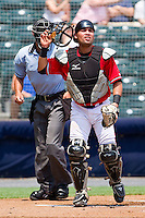 Eliezer Zambrano #15 of the Richmond Flying Squirrels on defense against the Harrisburg Senators at The Diamond on July 22, 2011 in Richmond, Virginia.  The Squirrels defeated the Senators 5-1.   (Brian Westerholt / Four Seam Images)