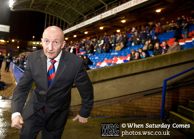 Crystal Palace 1 Huddersfield Town 1, 22/12/2012. Selhurst Park, Championship. Promotion chasing Crystal Palace aim to halt a poor run of form against lowly Huddersfield. Ian Holloway dashes down the tunnel to deliver his half time team talk. Photo by Simon Gill.