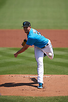 Miami Marlins pitcher Trevor Rogers (28) during a Major League Spring Training game against the Houston Astros on March 21, 2021 at Roger Dean Stadium in Jupiter, Florida.  (Mike Janes/Four Seam Images)