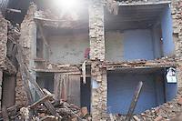 Destroyed housed in Shanku, near Kathmandu, Nepal. May 9, 2015