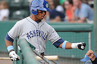 Infielder Russell Wilson (3) of the Asheville Tourists, Class A affiliate of the Colorado Rockies, in a game against the Greenville Drive on May 1, 2011, at Fluor Field at the West End in Greenville, S.C. Photo by Tom Priddy / Four Seam Images