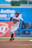 Jupiter Hammerheads left fielder Stone Garrett (33) runs the bases during a game against the Dunedin Blue Jays on August 14, 2018 at Dunedin Stadium in Dunedin, Florida.  Jupiter defeated Dunedin 5-4 in 10 innings.  (Mike Janes/Four Seam Images)