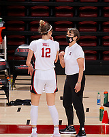 STANFORD, CA - FEBRUARY 19: Tara VanDerveer head coach of the Stanford Cardinal talks with Lexie Hull #12 at a timeout during a game between Arizona State University and Stanford University at Maples Pavilion on February 19, 2021 in Stanford, California.