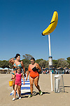 Venice Lido Italy 2009. Three generation, grandmother, mother and daughter,