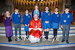 The former student of Scoil Chean Tra at their confirmation in St Mary's in Dingle on Friday, with Fr Fr Michael Moynihan and Máire Uí Ghrífín (Teacher). L to r:   Mallaidh Ní Bheoláin Sabháis, Ben De Brún, Carol De Náis, Múinteoir, Máire Uí Ghrífín, Katie Ní hÉalaithe, Ríona Ní Mhuircheartaigh Alegbe and Cuán Ó Fiannachta