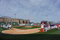 Fireworks explode as the Clemson Tigers line up in the Reedy River Rivalry game against the South Carolina Gamecocks on Saturday, March 5, 2016, at Fluor Field at the West End in Greenville, South Carolina. Clemson won, 5-0. (Tom Priddy/Four Seam Images)