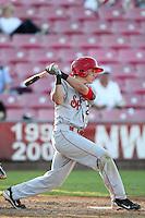 Spokane Indians infielder Drew Robinson #29 bats against the Salem-Keizer Volcanoes at Volcanoes Stadium on August 10, 2011 in Salem-Keizer,Oregon. Salem-Keizer defeated Spokane 7-6.(Larry Goren/Four Seam Images)