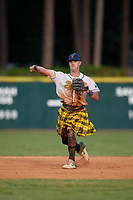 Savannah Bananas shortstop Gabe Howell (6) throws to first base during a Coastal Plain League game against the Macon Bacon on July 15, 2020 at Grayson Stadium in Savannah, Georgia.  Savannah wore kilts for their St. Patrick's Day in July promotion.  (Mike Janes/Four Seam Images)