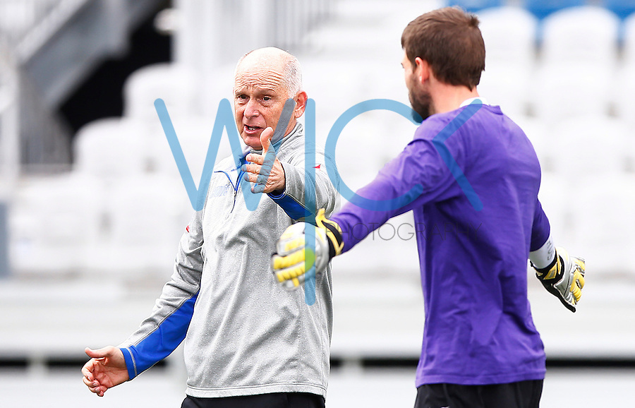 Hunter Gilstrap #1 of the Pittsburgh Riverhounds talks with head coach Mark Steffens during practice prior to media day at Highmark Stadium in Pittsburgh, Pennsylvania on March 31, 2016. (Photo by Jared Wickerham / DKPS)