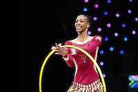 """February 12, 2016 - Tartu, Estonia - GRACE LEGOTE of South Africa performs in the All-Around at """"Miss Valentine"""" 2016 international tournament."""