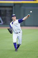 Winston-Salem Dash starting pitcher Jace Fry (11) warms up in the outfield prior to the game against the Salem Red Sox at BB&T Ballpark on May 31, 2015 in Winston-Salem, North Carolina.  The Red Sox defeated the Dash 6-5.  (Brian Westerholt/Four Seam Images)
