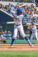 Wes Rogers (24) of the Hartford Yard Goats stands in the batters box during a game against the Binghamton Rumble Ponies at Dunkin Donuts Park on May 9, 2018 in Hartford, Connecticut. (Gregory Vasil/Four Seam Images)