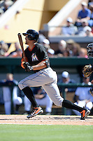 Miami Marlins outfielder Giancarlo Stanton (27) during a spring training game against the Detroit Tigers on March 13, 2014 at Joker Marchant Stadium in Lakeland, Florida.  Miami defeated Detroit 4-2.  (Mike Janes/Four Seam Images)