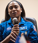 Expedition 54 backup crew member Jeanette Epps of NASA answers a question during a press conference, Saturday, December 16, 2017 at the Cosmonaut Hotel in Baikonur, Kazakhstan. Expedition 54 prime crew members Soyuz Commander Anton Shkaplerov of Roscosmos, flight engineer Scott Tingle of NASA, and flight engineer Norishige Kanai of Japan Aerospace Exploration Agency (JAXA) are scheduled to launch to the International Space Station aboard the Soyuz spacecraft from the Baikonur Cosmodrome on December 17. <br /> Mandatory Credit: Joel Kowsky / NASA via CNP