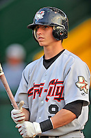 3 September 2008: Tri-City Valley Cats second baseman Andrew Simunic awaits his first at-bat prior to a NY Penn-League game against the Vermont Lake Monsters at Centennial Field in Burlington, Vermont. The Lake Monsters defeated the Valley Cats 6-5 in extra innings. Mandatory Photo Credit: Ed Wolfstein Photo