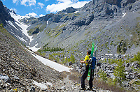 Finding snow in a canyon, Sé Rouge, Wallis, Switzerland, June 2020.