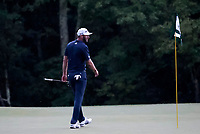 23rd August 2020, Boston, MA, USA;  Dustin Johnson, of the United States, on the 18th green during the final round of The Northern Trust  at TPC Boston in Norton, Massachusetts.