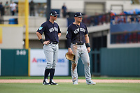 New York Yankees second baseman DJ LeMahieu (26) and first baseman Luke Voit (45) during a Grapefruit League Spring Training game against the Detroit Tigers on February 27, 2019 at Publix Field at Joker Marchant Stadium in Lakeland, Florida.  Yankees defeated the Tigers 10-4 as the game was called after the sixth inning due to rain.  (Mike Janes/Four Seam Images)