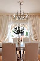 elegant white dining area